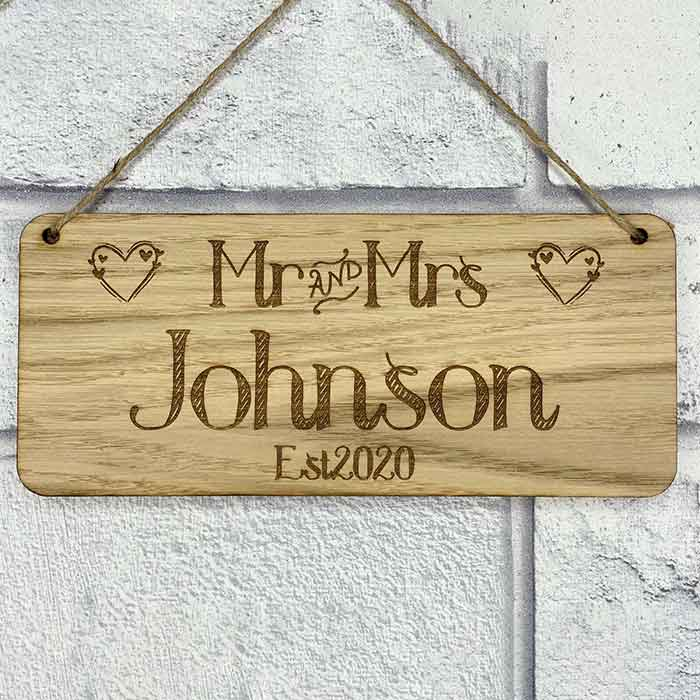 Little Gifts With Love - Personalised Mr & Mrs Surname and Wedding Date Hanging Sign Bride and Groom Gift