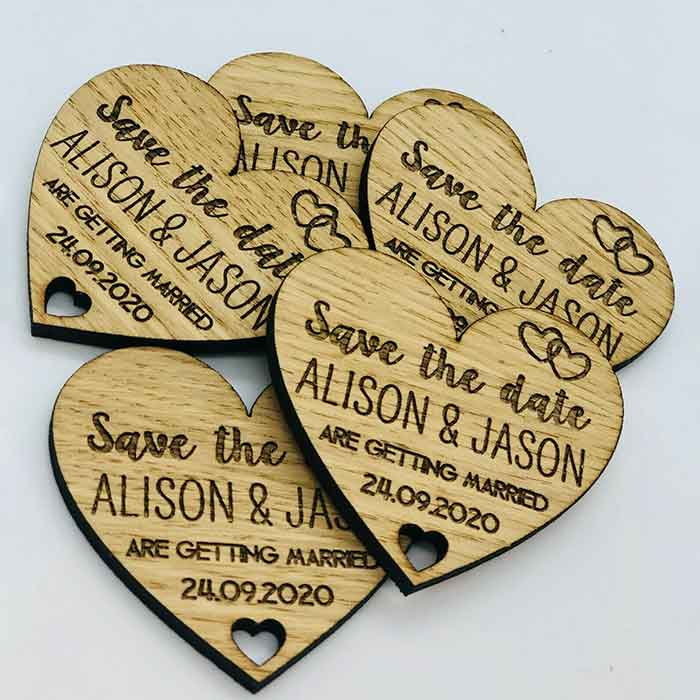 Little Gifts With Love - Personalised Rustic Wooden Heart Save The Date Fridge Magnet Wedding Invites
