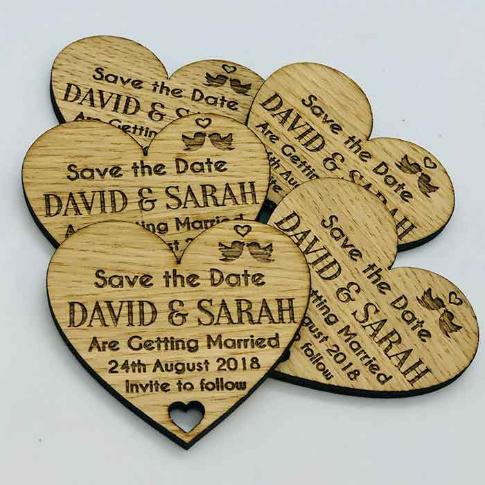 Little Gifts With Love - Personalised Rustic Wooden Heart Save The Date Fridge Magnets Wedding Invites