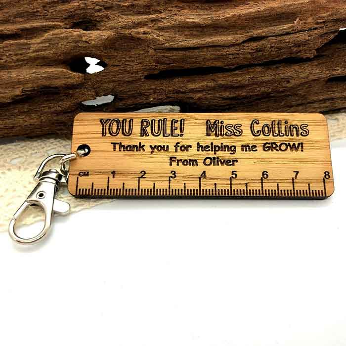 Little Gifts With Love - Personalised Teacher Thank you Lockdown Gifts School Nursery Keyring Ruler Gift