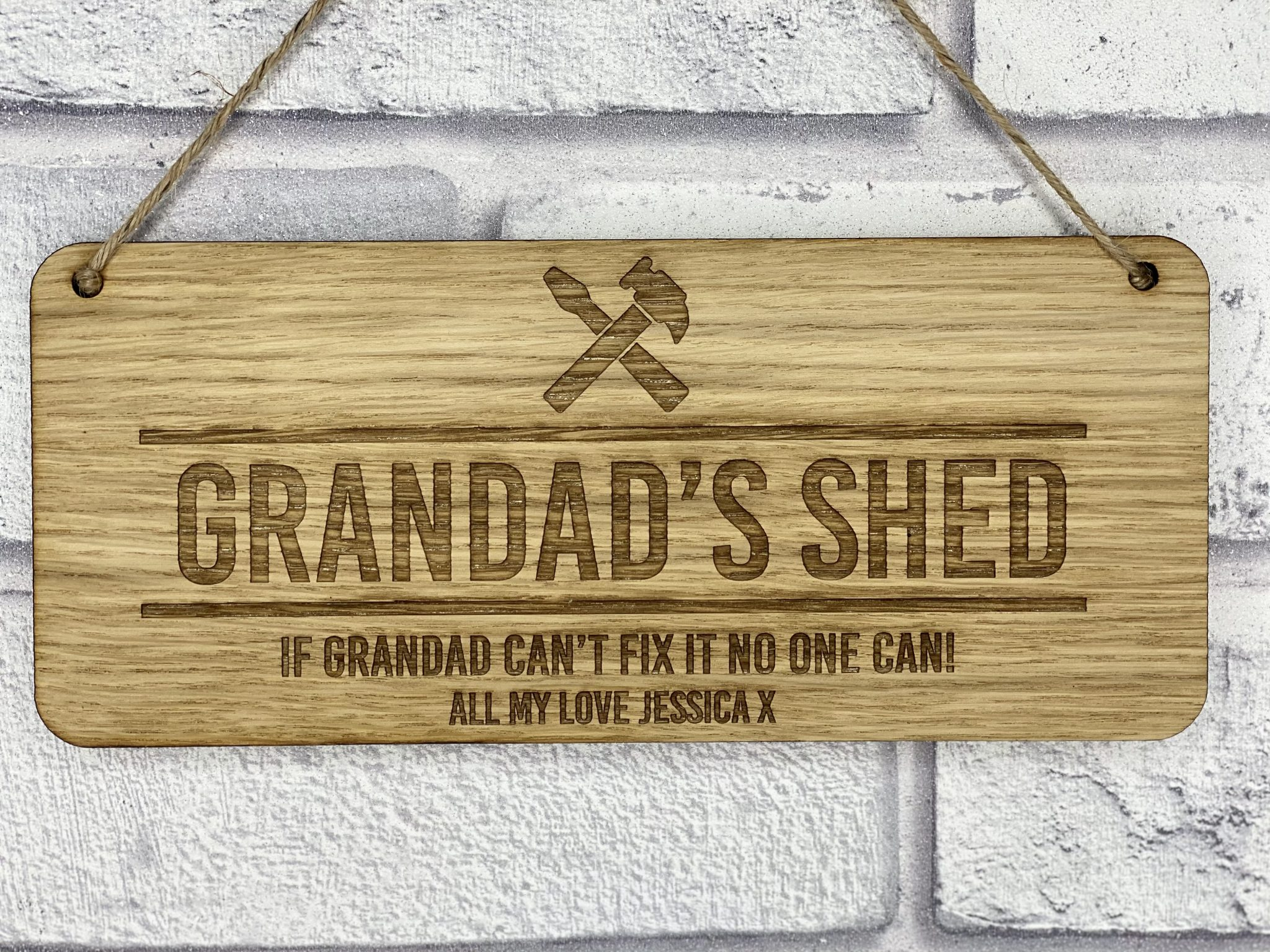 Little Gifts With Love - Personalised Engraved Grandads Shed Oak Fathers Day Hanging Sign Birthday Gift